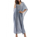 Fashionable Plain V-Neck Batwing Sleeve Drawstring Waist Dress