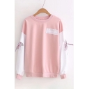Letter Color Block Pattern Tie Long Sleeve Round Neck Pullover Sweatshirt