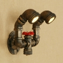 Industrial 2 Light Multi Light Wall Sconce in Pipe Style, Antique Bronze
