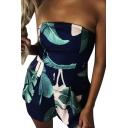 Summer Fashion Leaf Tropical Plant Pattern Zip-Back Bandeau Wide Leg Romper