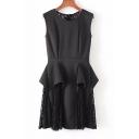Stylish Plain Round Neck Lace Insert Ruffle Detail Tank Dress