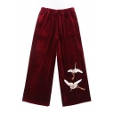 Chic Embroidered Crane Pattern Elastic Waist Leisure Wide Leg Pants