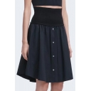 New Fashion Simple Plain Gathered Waist Button Skirt
