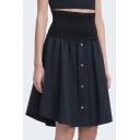 New Fashion Simple Plain Gathered Waist Button Skirt