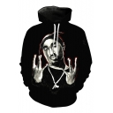 Hip-Hop Style Rapper Character Pattern Long Sleeves Pullover Unisex Hoodie