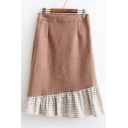 Fashionable Color Block Gingham Plaids Elastic Waist Midi Flared Skirt