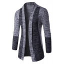 Men's Trendy Color Block Lapel Open Front Slim-Fit Popular Cardigan