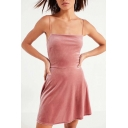 Fashionable Simple Plain Slip Velvet Dress