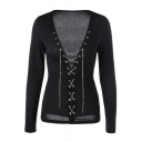 New Stylish Sexy Plunge Neck Lace-Up Front Long Sleeve Plain Tee