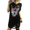 New Trendy Letter Guitar Print Hollow Out Front Short Sleeve Round Neck Dress