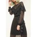 Vintage Style Round Neck Ruffle Sleeves Polka Dotted Zip-Back Midi A-line Beach Dress