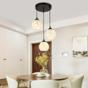 Industrial 3 Light Multi Light Pendant with Globe Glass Shade in Nordical Style