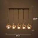 Industrial 28''W Multi Light Pendant with Amber Glass Shade in Vintage Style, 5 Light