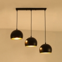 Industrial 20''W Multi Light Pendant with Dome Metal Shade in Nordical Style, 3 Light, Black