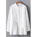 Fashionable Plain Button Down Stand-Up Collar Long Sleeve Hollow Out Shirt