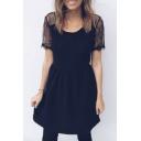Summer Fashion Lace Panel Short Sleeves Cutout Hollow Back A-line Mini Dress