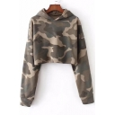 Autumn Fashion Camouflaged Pattern Long Sleeves Pullover Cropped Hoodie