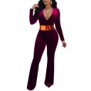 Hot Fashion Plunge Neck Long Sleeves Slim-Fit Plain Wide Leg Velvet Jumpsuit
