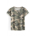 Cool Camouflaged Pattern Round Neck Short Sleeves Casual Tee