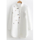 Cute Cartoon Cat Mouse Floral Print Lapel Long Sleeve Tunic Shirt