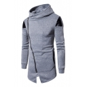 Popular Color Block PU Patchwork Zippered Notched Hem Men's Tunic Hoodie