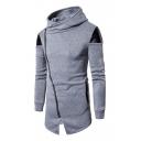 Popular Color Block PU Patchwork Zippered Notched Hem Men's Tunic Hoodie