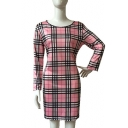 Hot Fashion Round Neck Long Sleeves Tartan Plaids Mini Pencil Dress
