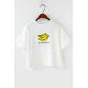 Lovely Letter Banana Pattern Round Neck Short Sleeves Cropped Tee