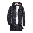 Chic Print Drawstring Hood Long Sleeve Zip Up Tunic Windproof Coat