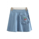 Girly Cherry Embroidered Ruffle Pocket Elastic Waist Mini A-line Denim Skirt