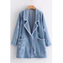 Leisure Raw Edged Notched Lapel Oversize Pockets Double Breasted Ripped Denim Coat