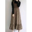 Autumn Fashion Ruffle Hem Tartan Plaids Pattern Midi Cami Dress