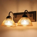 Industrial 2 Light Multi Light Wall Sconce with Bowl Glass Shade and Gooseneck Fixture Arm