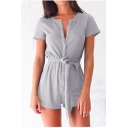 Basic Plain Button Short Sleeve Tie Waist Leisure Rompers