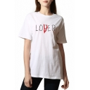 Simple LOSER Letter Printed Round Neck Short Sleeves Casual Tee
