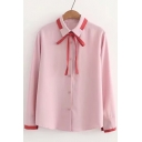 Contrast Lapel Collar Long Sleeve Bow Detail Single Breasted Shirt