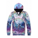 Stylish Cartoon Pattern Long Sleeves Pullover Hoodie with Pocket