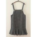 New Stylish Plaid Print Ruffle Hem Overall Dress