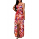Bohemian Style Print Open Back Plunge Neck Split Chiffon Slip Beach Dress