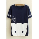 Cartoon Cat Letter Printed Round Neck Short Sleeve Leisure Tee