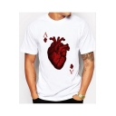 New Stylish Man's Heart Letter A Printed Crew Neck Short Sleeve Tee