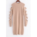 New Stylish Hollow Out Long Sleeve Simple Plain Beaded Knitted Bodycon Dress