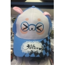 Cute Rabbit Ears Face Eyeglasses Letter Plaids Pattern Baseball Cap Hat