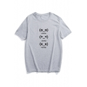 Leisure Expression Letter Print Short Sleeve Round Neck Tee