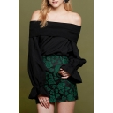 New Stylish Off Shoulder Flared Cuff Long Sleeve Blouse