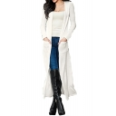 Autumn Collection Open Front Double Pockets Longline Plain Slim-Fit Women's Cardigan