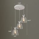 Industrial Multi Light Pendant with Clear Glass Shade in Nordical Style, 3 Light