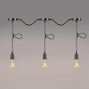 Industrial 3 Light Adjustable Multi Light Pendant in Simple Style, Black