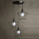 Industrial 3 Light Multi Light Pendant with Star Shape Metal Cage in Black