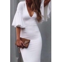 Trendy Plunge Neck Pleated Flared Sleeves Slim-Fit Plain Bodycon Pencil Midi Dress